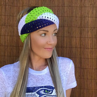 Seattle Seahawks Navy Blue, Lime Green, White Hawks Braid Head Hair Accessory Band Earwarmer Fall Headband Fashion Girl Woman Unisex Boy Men