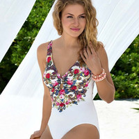 Floral Print One Piece Swimsuit Bathing Suit B007960