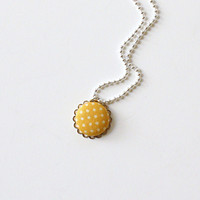 Yellow Polka Dot Necklace Jewelry  Scallop Fabric Button Pendant Ball Chain Covered Button