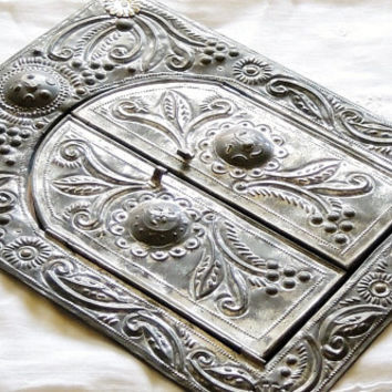 Victorian Metal Folding Mirror, Romantic Farmhouse Style, Raised Relief,  Shabby Cottage Style