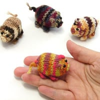 New collection- yellow, brown and pink striped piggy knitted baby toy, little pigs stuffed toy, handknit