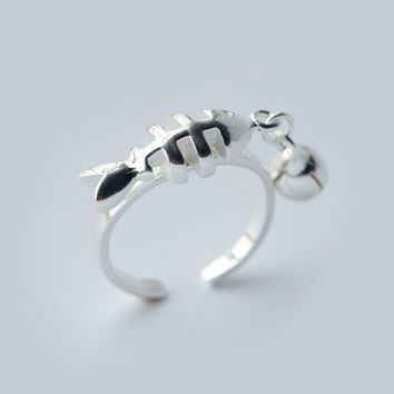 Lovely tiny fish and tiny bell 925 sterling silver ring,a perfect gift