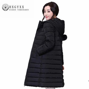 Fashion Big yards Women Cotton Coat New Hooded Thicken Winter Outerwear Long sleeve zipper pure color wadded jacket ZX0041