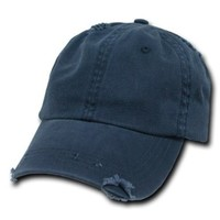 Navy Blue Vintage Distressed Polo Style Unstructured Low-Profile Baseball Cap Hat