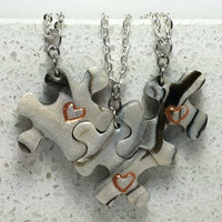 Puzzle Necklace Set  Best Friend Heart Jewelry 3  polymer clay Set 206
