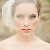 Silk Tulle Veil, Blusher Veil, Birdcage Veil, Silk Wedding Veil, Small Veil, Mini Veil -Elise MADE TO ORDER