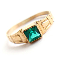 Antique 10K Yellow Gold Green Stone Ring - Edwardian - Art Deco Knuckle Midi Baby Size 2 1/2 Fine Jewelry / Emerald Green