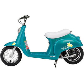 Teal Razor Pocket Mod Moped Electric Motorized Scooter For Kids