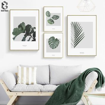 WALL Watercolor Plant Leaves Poster Print Landscape Wall Art Canvas Painting Picture for Home Decoration Green Decor