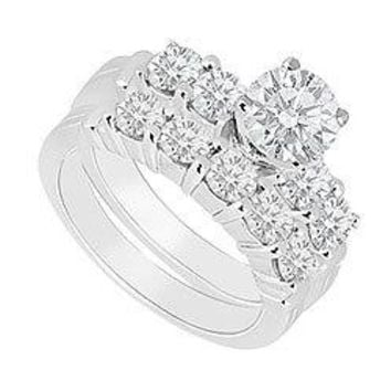 14K White Gold : Diamond Engagement Ring with Wedding Band Set 1.40 CT TDW