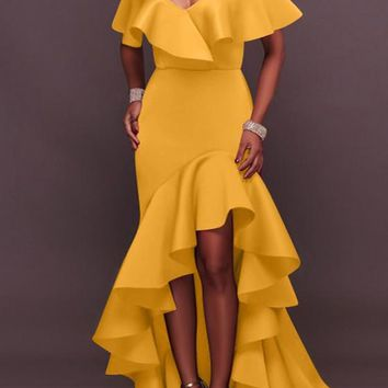 Yellow Bandeau Irregular Ruffle Off Shoulder High-low Backless Mermaid Party Maxi Dress