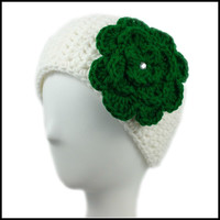 White Earwarmer with Green Flower