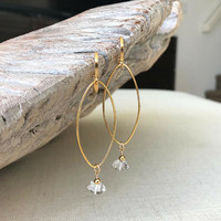 Diamond Earrings, Herkimer Diamond Earrings, Herkimer Diamond Earrings Gold or Silver, Gold or Silver Herkimer Diamond Hoop Earrings