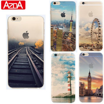 Thin Soft Silicon Scenery Coque For iPhone 4 4S 5 5S 5C SE 6 6S 7 7 Plus For Samsung Galaxy J5 j3 A3 A5 2016 Grand Prime Case