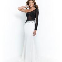 Black & Off White Sheer One Shoulder Jeweled Bodice 2 Toned Gown