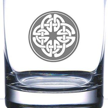 IE Laserware Irish Celtic Shield Knot 125 oz Whiskey Scotch Old Fashion Laser Etched Glass