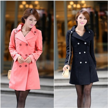 BELLEVUE New Fashion Women Slim Fit Trench Double-breasted Coat Jacket Outwear = 1956185220