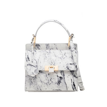 Balenciaga Le Dix Marble Zip Cartable S White - Women's Shoulder Bag