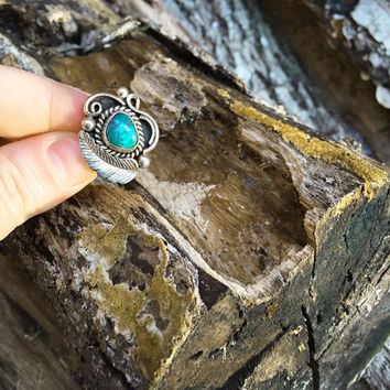 Signed Vintage Morty Johnson Turquoise Ring / Size 6 / Sterling Silver Southwestern Jewelry / Navajo American Indian / Boho Bohemian