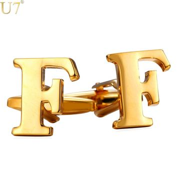 U7 New Cufflinks Blanks Trendy Gold/Silver Color Name Men Jewelry Alphabet F Letter Charm Cufflinks Studs With Box C206