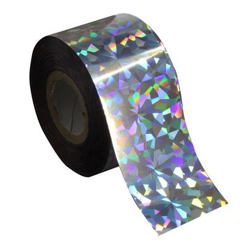 Holographic Glitter Silver Color Plastic Nail Transfer Foil 120m*4cm Rainbow Effect Laser Nail DIY Craft Starry Sky Serial WY270