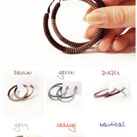 Hoop Earrings - Crochet Tube Hoops - Choose your color