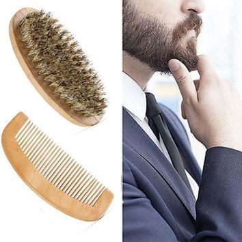 New Hot Sale Boar Bristle Beard Brush and Handmade Beard Comb Kit for Men Beard Mustache