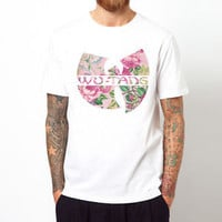 WU TANG CLAN flower rap hip hop music gift men white t-shirt