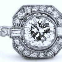 2.03ct  H-SI2 Art Deco Round Diamond Engagement Ring  GIA certified 18kt  JEWELFORME BLUE