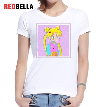 REDBELLA Ulzzang Kawaii T Shirt Sailor Moon Japanese Character Bubbles Tumblr Women T-shirt 2017 Cotton Femme Clothing Print