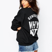 Kiss This Oversized Crew Neck Sweatshirt With Generation Why Not Back Print
