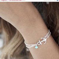 Anchor Bracelet,Turquoise Anchor Bracelet,  Nautical Jewelry, Sorority Bracelet, Nautical Anklet, Anchor Anklet