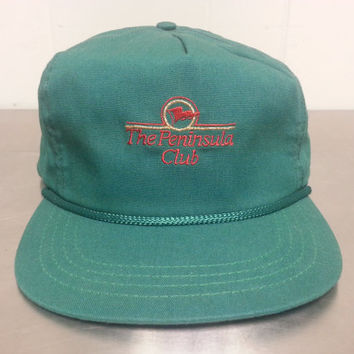 Vintage 80's Deadstock Peninsula Club Leather Strap Back New Made by Duckster Made In USA Dad Hat Golf Cap