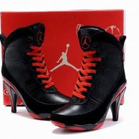 air jordan ix black red high heels boots womens