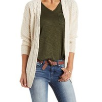 Mixed Stitch Chunky Cardigan Sweater by Charlotte Russe
