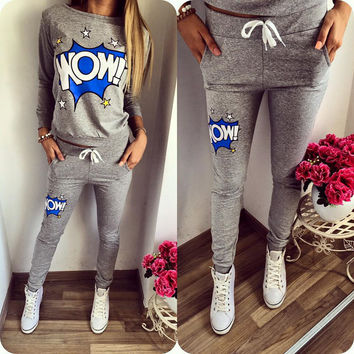 Casual Sports Winter Women's Fashion Alphabet Long Sleeve Sportswear Set [9307391108]