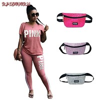 RAISEVERN Pink Letter Print 2 Piece Set Women Plus Size Top And Pants Casual Outfit Sweat Suits Two Piece Sweatshirt Tracksuit