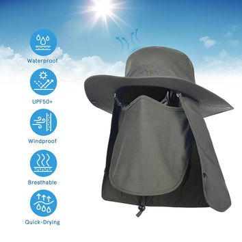 Sport Hiking Camping Visor Hat UV Protection Face Neck Cover Fishing Sun Protcet Cap Military Style Hats Mosquito Bucket Hat