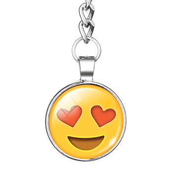 2016 Huarache Lovely Emoji Emoticon Keychains Keyrings Silver Plated Double-side Glass Cabochon Key Ring Key Chains Jewelry