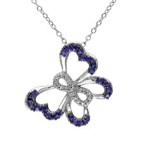 Lab-Created Sapphire & Diamond Accent Sterling Silver Infinity & Butterfly Pendant Necklace (Blue)