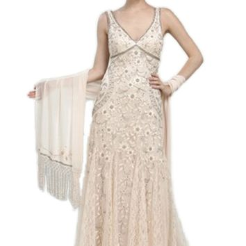 Sue Wong N1118 Gorgeous Antique Embroidered Beige Wedding Gown