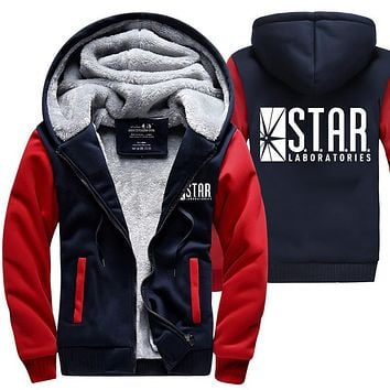 fashion brand-clothing S.T.A.R. STAR labs hoodie 2017 spring winter warm fleece men sweatshirts the flash jacket casual men coat