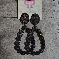 Pink Panache black setting/bronze small oval w/ tear drop earrings