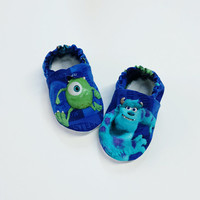 Handmade Soft Cloth Baby Moccs / Moccasins / Booties / Crib Shoes Monsters Inc Mike and Sully