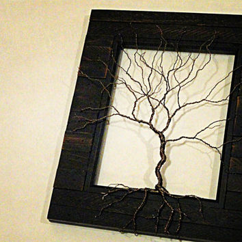 Personalized Framed Wire Tree Art Sculpture Wedding Gift Anniversary Gift