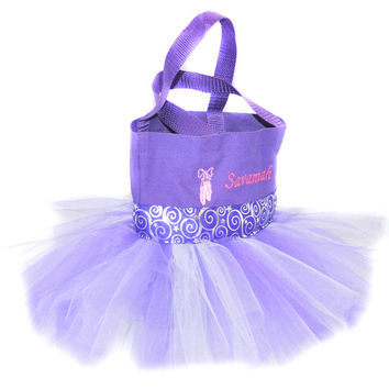 Purple Whimsical Tutu Bag with Monogram Name Embroidered on it, Little Girl's Tote, Dance Clothes Bag, Princess Style