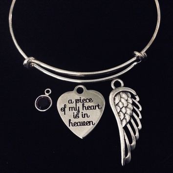 Memorial A Piece of My Heart is in Heaven Adjustable Bracelet Expandable Charm Bracelet Wire Bangle
