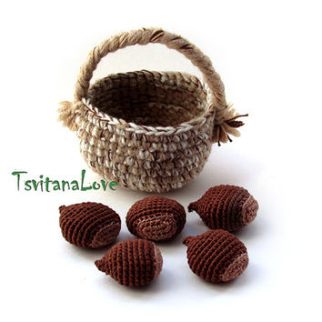Set of 5 pcs chestnuts in a basket - small Scullion - game in the kitchen - Seasons - Eco-friendly Decoration