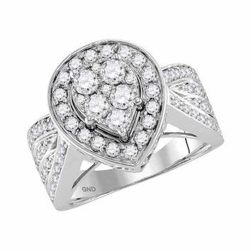 14kt White Gold Womens Round Diamond Teardrop Cluster Bridal Wedding Engagement Ring 1-3/8 Cttw