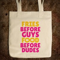 FRIES BEFORE GUYS FOOD BEFORE DUDES (INFINITY YELLOW PINK ART) TOTE BAG © Diamond Images